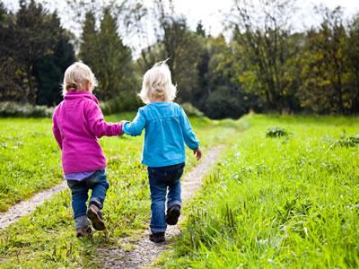 Kinder machen einen Ausflug in den Wald.